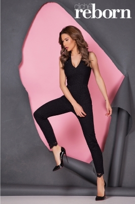 Black jumpsuit with Swarovski crystals