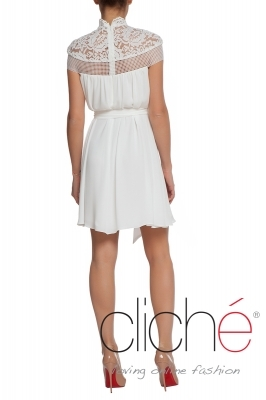 White schifon dress with lace
