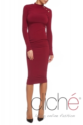 Polo dress with buttons in burgundy color