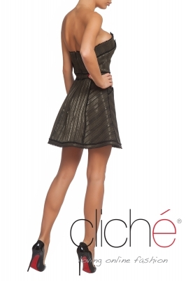 V neck tweed dress