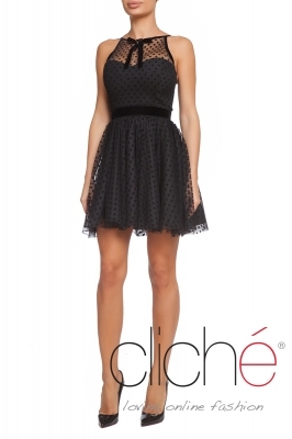 Short black dress with velvet accents