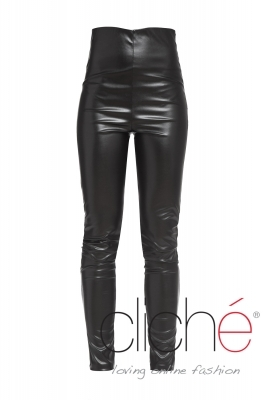 Black leather leggings with high waist