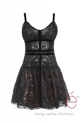 Lace dress with velvet