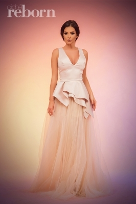 Champagne maxi tulle prom skirt