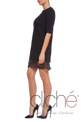 Lace back tunic dress in black