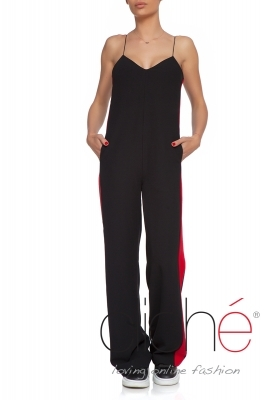 Long jumpsuit with red edging