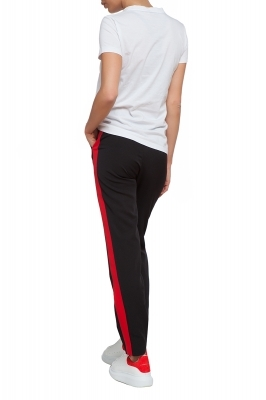 Black trousers with red side stripe