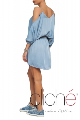 Cold shoulder blue mini dress