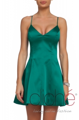 Green satin mini dress with thin straps