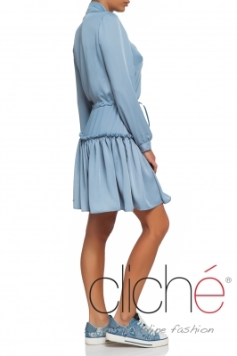 Long sleeve blue dress with neck tie