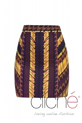 Skirt with dogtooth print in yellow and purle