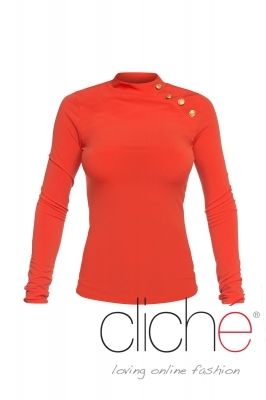 Turtleneck blouse in orange