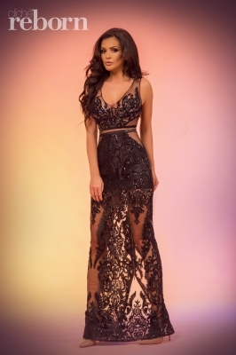 Sequins maxi dress in black