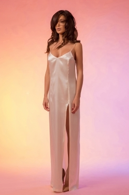 Thigh split maxi silk white dress