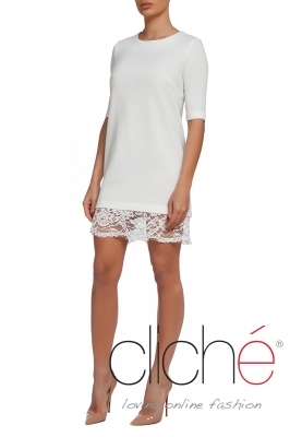 Lace back tunic dress in white