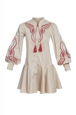 Beige embroidered dress