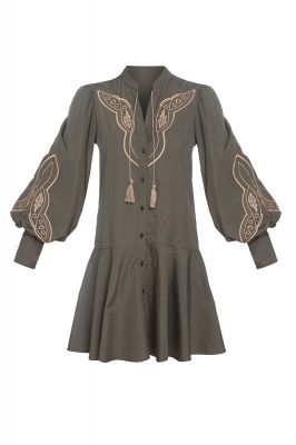Khaki embroidered dress