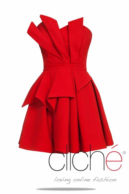Red dress with frill elements