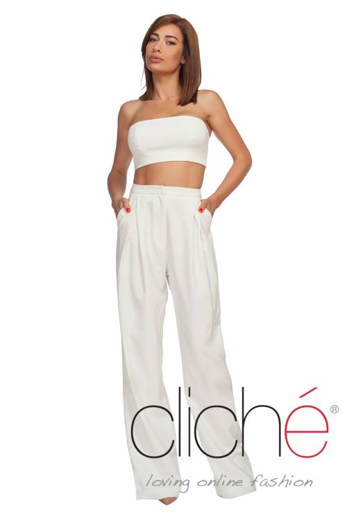 High waist pants in offwhite