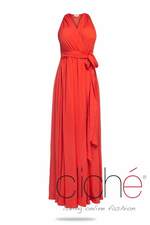 Long dress in coral