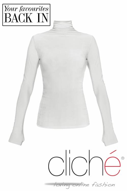 Turtle neck blouse in off- white