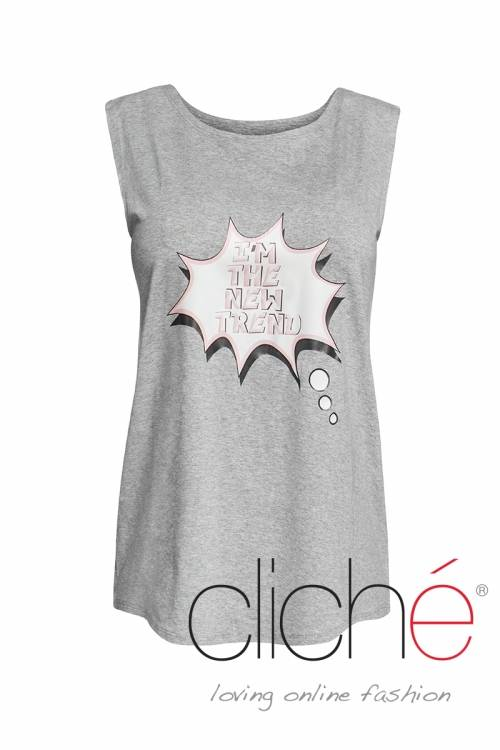 Grey top with print