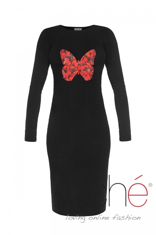 Knitted dress with a red butterfly