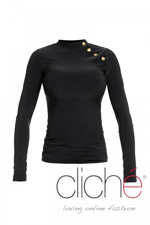 Black turtleneck blouse with buttons