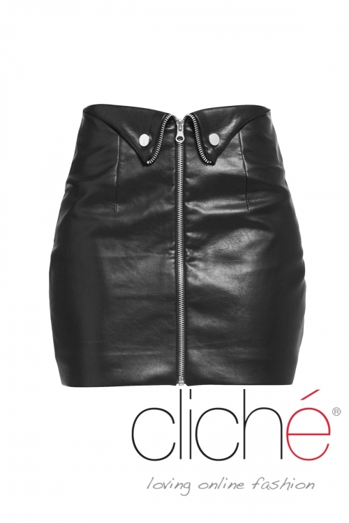 Leather skirt with buttons