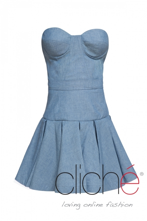 Flared denim dress