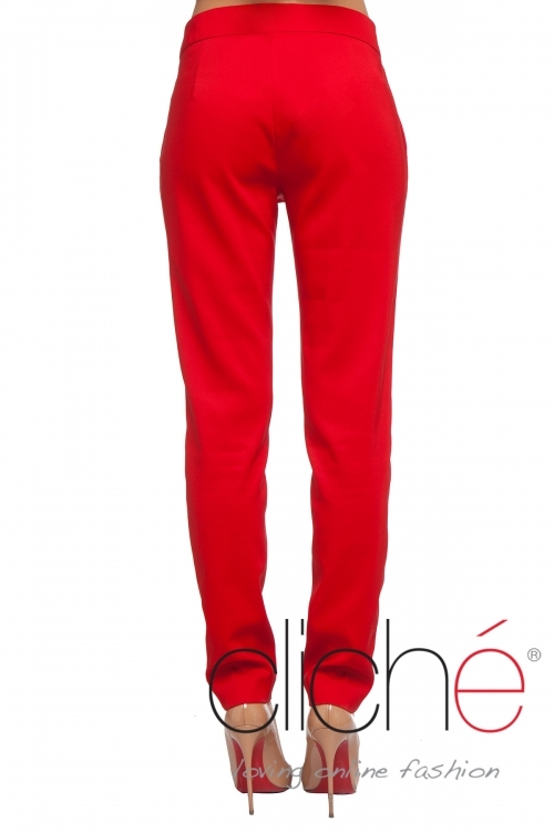 Elegant high-waisted pants in red