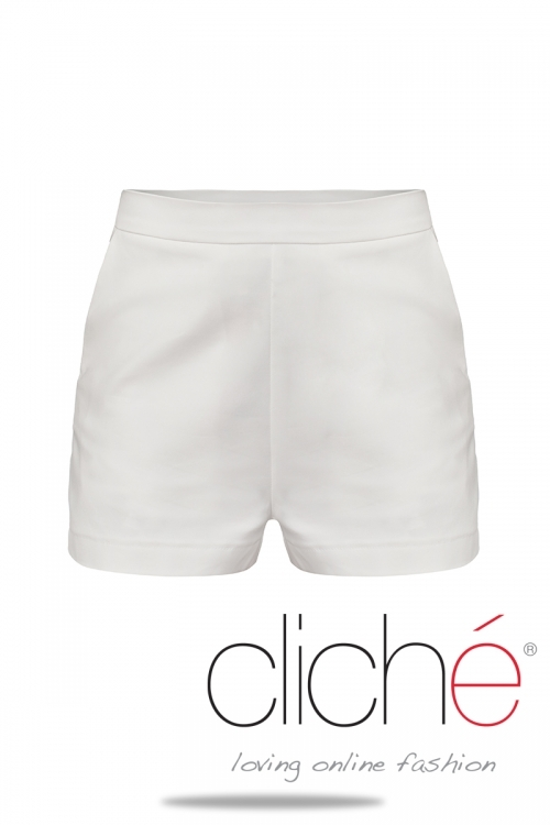 Shorts with high waist in white