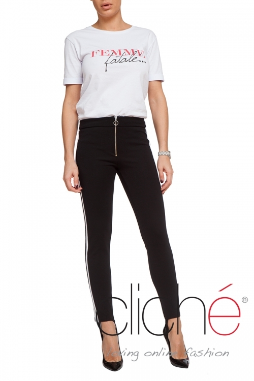 Black trousers with hem