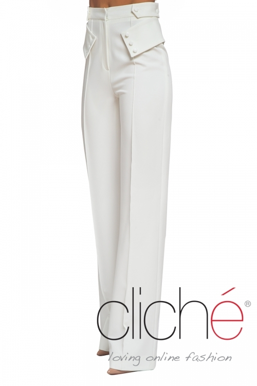 White high waist cigarette trousers