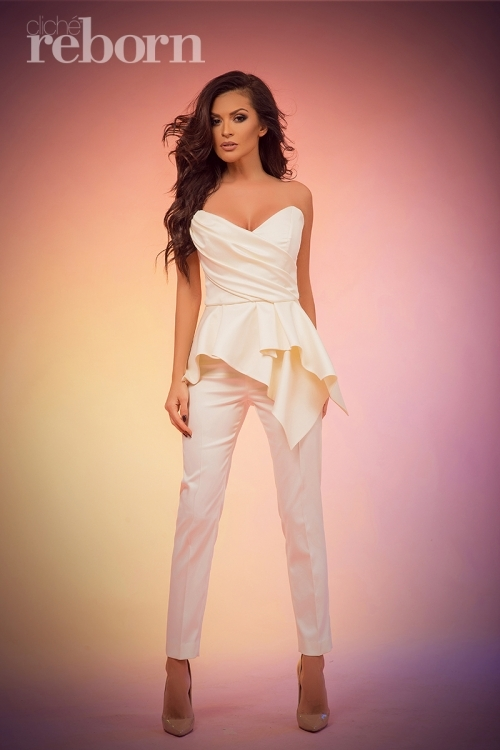 White high waist formal trousers