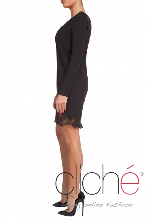 Midi black dress with lace neckline