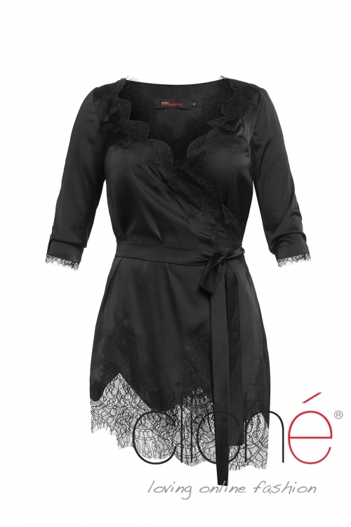 Asymmetric satin tunic with lace