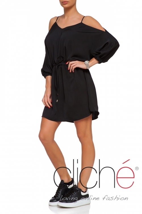 Cold shoulder black mini dress