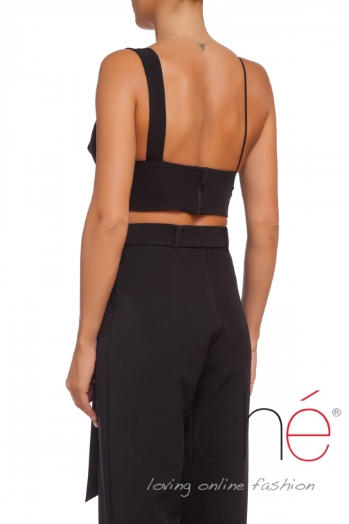 Asymmetric bra top in black