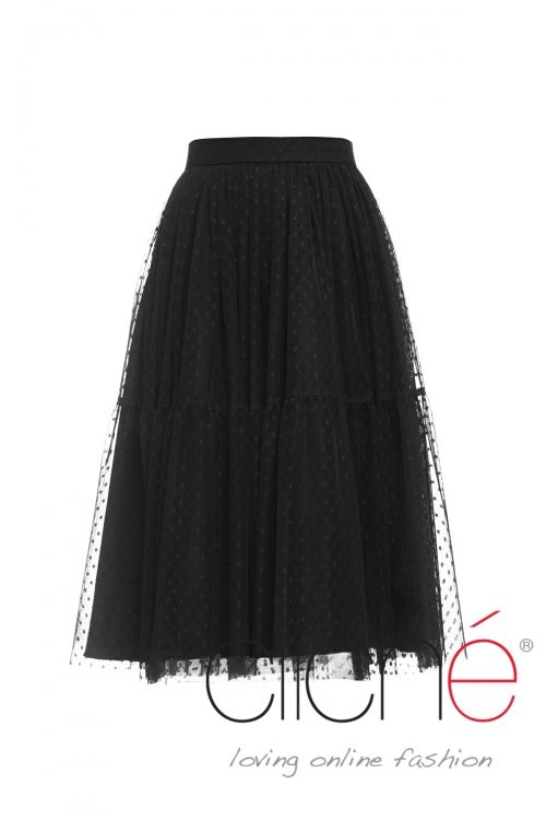 Tulle tired midi skirt in black