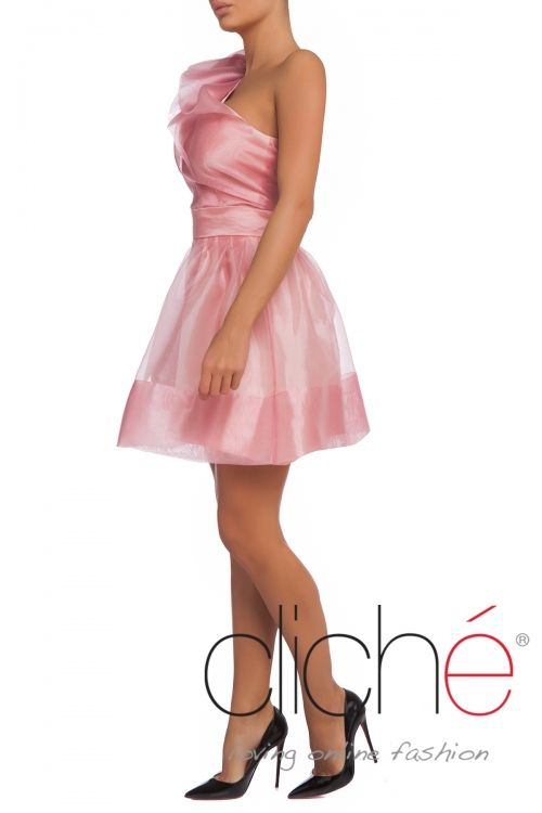One shoulder organza frill dress in pink