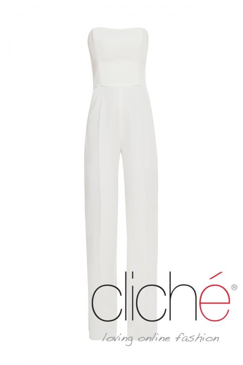 Bandeau jumpsuit with wide leg in white
