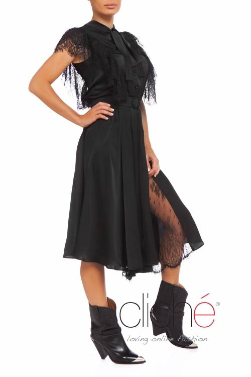 Black shirt dress with lace frills
