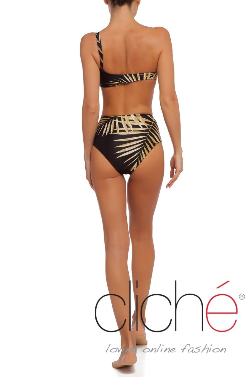 Black Tropical Gold One shoulder bikini set