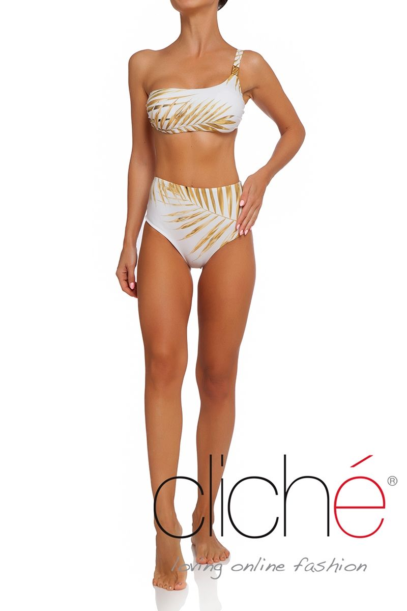 Tropical Gold One shoulder bikini set