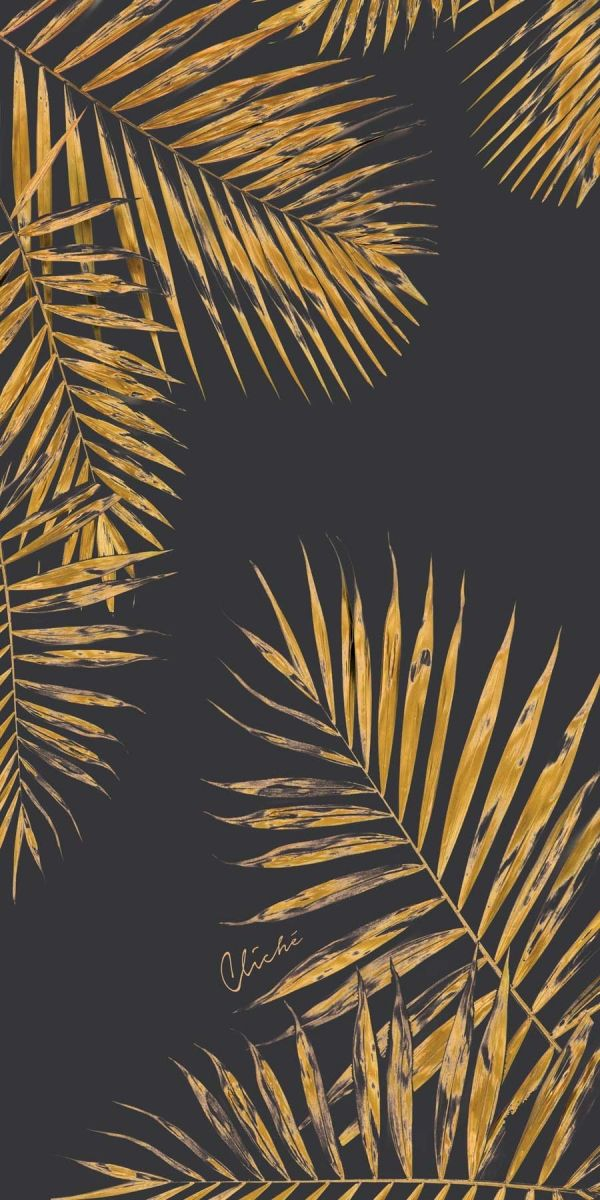 Black tropical gold beach towel