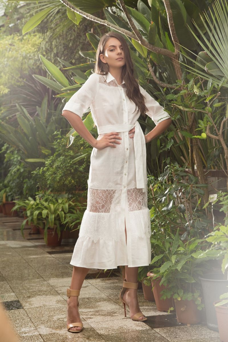 Linen Smock shirt dress with lace trims in white