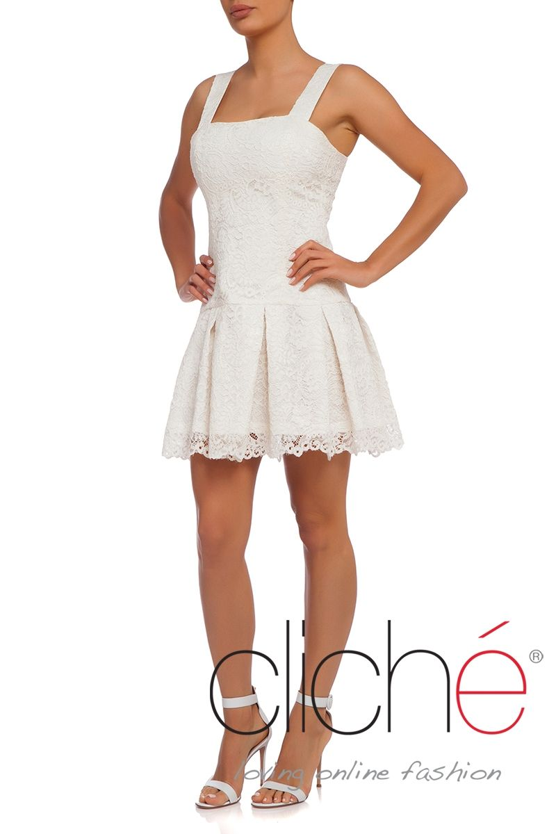 Drop waist lace dress in white
