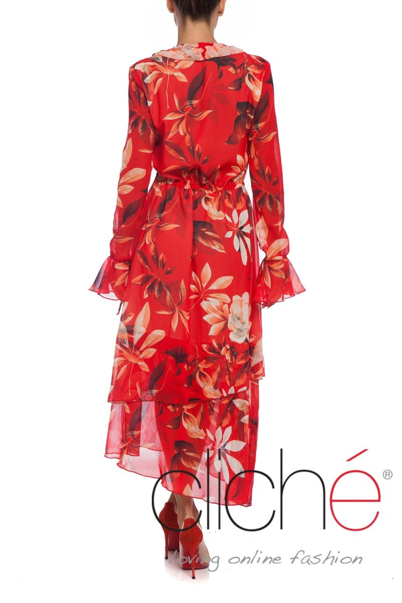 Long sleeve layered smock dress in red print