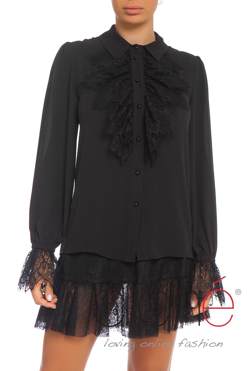 Shirt with lace frill sleeves and neck in black